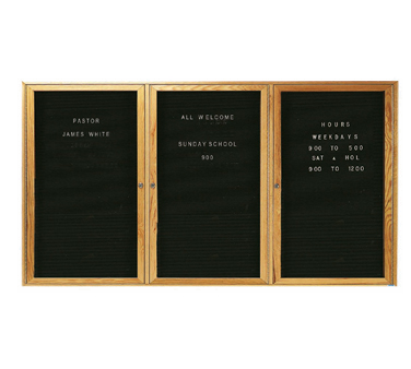 "Aarco Products ODC3672-3L Oak Frame Enclosed Message Center Board, 36""H x 72""W"