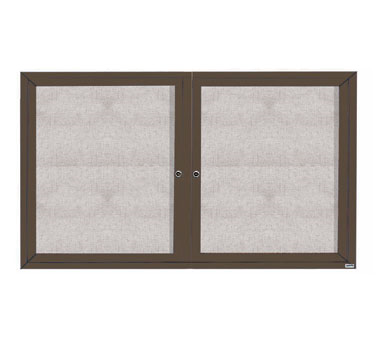 "Aarco Products ODCC3660RBA 2-Door Outdoor Enclosed Bulletin Board with Bronze Anodized Aluminum Frame, 36""H x 60""W"