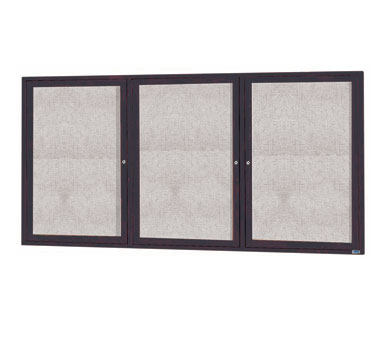 "Aarco Products ODCC3672-3RBA 3-Door Outdoor Enclosed Bulletin Board with Bronze Anodized Aluminum Frame, 36""H x 72""W"