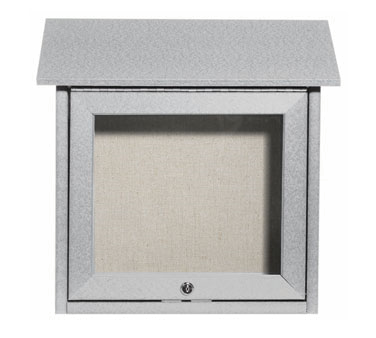 Aarco Products OPLD1818-2 Light Grey Slimline Series Top Hinged Single Door Plastic Lumber Message Center w / Vinyl Posting Surface 18