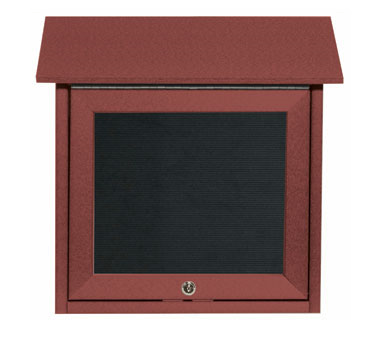 "Aarco Products OPLD1818L-7 Rosewood Slimline Series Top Hinged Single Door Plastic Lumber Message Center with Letter Board 18"" x 18"""