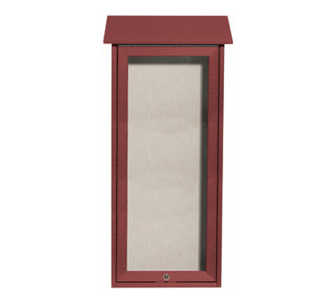 "Aarco Products OPLD3416-7 Rosewood Slimline Series Top Hinged Single Door Plastic Lumber Message Center with Vinyl Posting Surface 34"" x 16"""