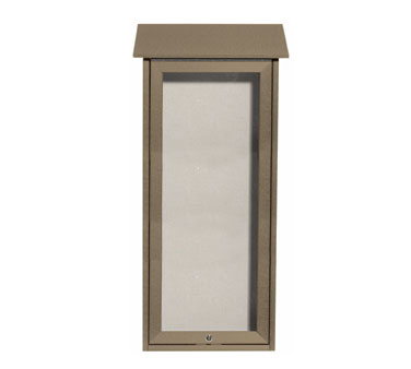 Aarco Products OPLD3416-8 Weathered Wood Slimline Series Top Hinged Single Door Plastic Lumber Message Center w / Vinyl Posting Surface 34