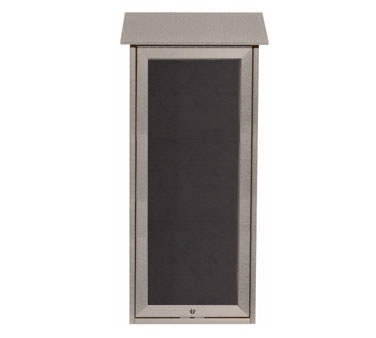 "Aarco Products OPLD3416L-2 Light Grey Slimline Series Top Hinged Single Door Plastic Lumber Message Center with Letter Board 34"" x 16"""