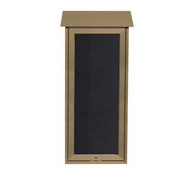 """Aarco Products OPLD3416L-8 Weathered Wood Slimline Series Top Hinged Single Door Plastic Lumber Message Center with Letter Board 34"""" x 16"""""""