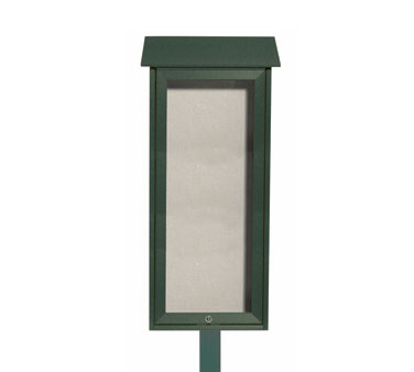 Aarco Products OPLD3416SPP-4 Green Slimline Series Top Hinged Single Door Plastic Lumber Message Center w / Vinyl Posting Surface, Posts 34