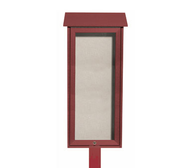 Aarco Products OPLD3416SPP-7 Rosewood Slimline Series Top Hinged Single Door Plastic Lumber Message Center w / Vinyl Posting Surface, Posts 34