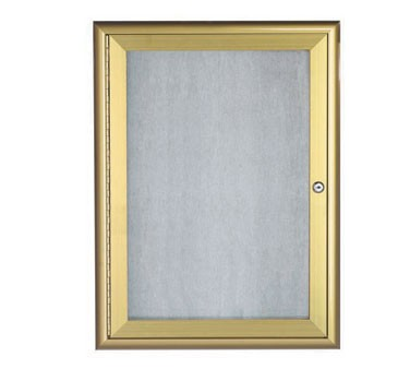 """Aarco Products OWFC2418G Enclosed Bulletin Board with Aluminum Waterfall Style Gold Frame, 24""""H x 18""""W"""