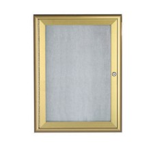 "Aarco Products OWFC2418G Enclosed Bulletin Board with Aluminum Waterfall Style Gold Frame, 24""H x 18""W"