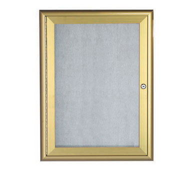 "Aarco Products OWFC3624G Enclosed Bulletin Board with Aluminum Waterfall Style Gold Frame, 36""H x 24""W"