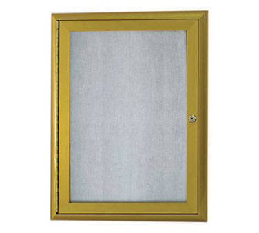 "Aarco Products OWFC3624LB Enclosed Bulletin Board with Aluminum Waterfall Style Antique Brass Frame, 36""H x 24""W"