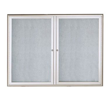 "Aarco Products OWFC3648 Enclosed Bulletin Board with Aluminum Waterfall Style Silver Frame, 36""H x 48""W"