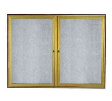 """Aarco Products OWFC3648LB Enclosed Bulletin Board with Aluminum Waterfall Style Antique Brass Frame, 36""""H x 48""""W"""