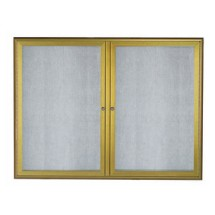 "Aarco Products OWFC3648LB Enclosed Bulletin Board with Aluminum Waterfall Style Antique Brass Frame, 36""H x 48""W"