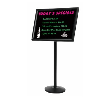 Aarco Products P-7BK Small Dual Capability Neon Markerboard and Menu-Poster Holder - Black