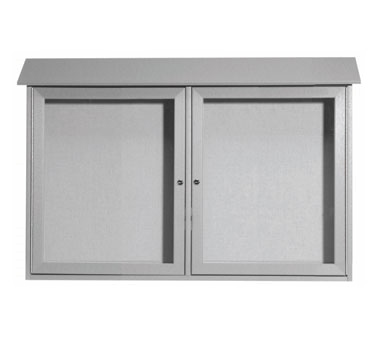"Aarco Products PLD3045-2-2 Light Grey Two Hinged Doors Plastic Lumber Message Center with Vinyl Posting Surface 30"" x 45"""