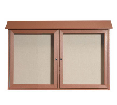 "Aarco Products PLD3045-2-5 Cedar Two Hinged Doors Plastic Lumber Message Center with Vinyl Posting Surface 30"" x 45"""