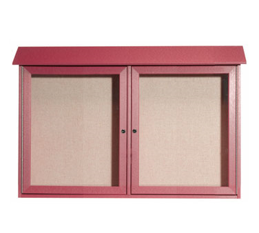 "Aarco Products PLD3045-2-7 Rosewood Two Hinged Doors Plastic Lumber Message Center with Vinyl Posting Surface 30"" x 45"""