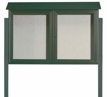 """Aarco Products PLD3045-2DPP-4 Green Two Hinged Doors Plastic Lumber Message Center with Vinyl Posting Surface- Posts Included, 30"""" x 45"""""""