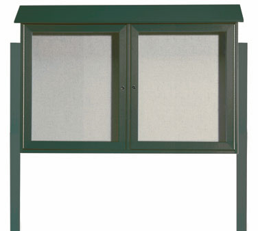 "Aarco Products PLD3045-2DPP-4 Green Two Hinged Doors Plastic Lumber Message Center with Vinyl Posting Surface- Posts Included, 30"" x 45"""