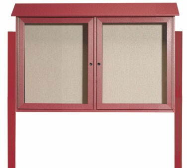 """Aarco Products PLD3045-2DPP-7 Rosewood Two Hinged Doors Plastic Lumber Message Center with Vinyl Posting Surface- Posts Included, 30"""" x 45"""""""