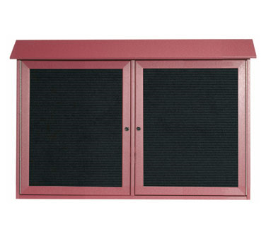 "Aarco Products PLD3045-2L-7 Rosewood Two Hinged Doors Plastic Lumber Message Center with Letter Board 30"" x 45"""