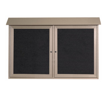 "Aarco Products PLD3045-2L-8 Weathered Wood Two Hinged Doors Plastic Lumber Message Center with Letter Board 30"" x 45"""