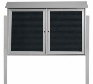 """Aarco Products PLD3045-2LDPP-2 Light Grey Two Hinged Doors Plastic Lumber Message Center with Letter Board- Posts Included, 30"""" x 45"""""""