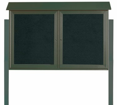 """Aarco Products PLD3045-2LDPP-4 Green Two Hinged Doors Plastic Lumber Message Center with Letter Board- Posts Included, 30"""" x 45"""""""