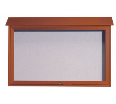"Aarco Products PLD3045T-5 Cedar Top Hinged Single Door Plastic Lumber Message Center with Vinyl Posting Surface 30"" x 45"""