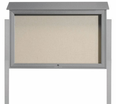 Aarco Products PLD3045TDPP-2 Light Grey Top Hinged Single Door Plastic Lumber Message Center w / Vinyl Posting Surface, Posts 30