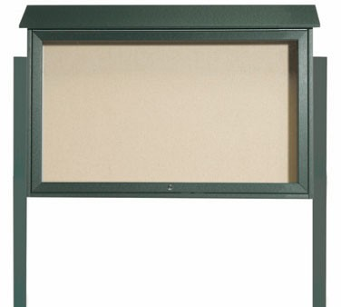 Aarco Products PLD3045TDPP-4 Green Top Hinged Single Door Plastic Lumber Message Center w / Vinyl Posting Surface, Posts 30