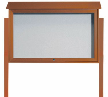 Aarco Products PLD3045TDPP-5 Cedar Top Hinged Single Door Plastic Lumber Message Center w / Vinyl Posting Surface, Posts 30