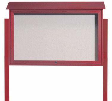 Aarco Products PLD3045TDPP-7 Rosewood Top Hinged Single Door Plastic Lumber Message Center w / Vinyl Posting Surface, Posts 30
