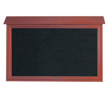 "Aarco Products PLD3045TL-7 Rosewood Top Hinged Single Door Plastic Lumber Message Center with Letter Board 30"" x 45"""