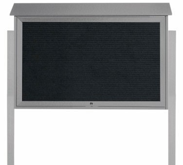 """Aarco Products PLD3045TLDPP-2 Light Grey Top Hinged Single Door Plastic Lumber Message Center with Letter Board- Posts Included, 30"""" x 45"""""""