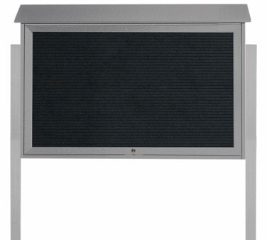 "Aarco Products PLD3045TLDPP-2 Light Grey Top Hinged Single Door Plastic Lumber Message Center with Letter Board- Posts Included, 30"" x 45"""