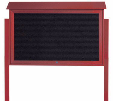 "Aarco Products PLD3045TLDPP-7 Rosewood Top Hinged Single Door Plastic Lumber Message Center with Letter Board- Posts Included, 30"" x 45"""