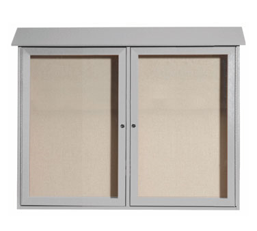"Aarco Products PLD3645-2-2 Light Grey Two Hinged Doors Plastic Lumber Message Center with Vinyl Posting Surface 36"" x 45"""
