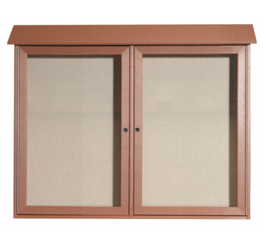"Aarco Products PLD3645-2-5 Cedar Two Hinged Doors Plastic Lumber Message Center with Vinyl Posting Surface 36"" x 45"""