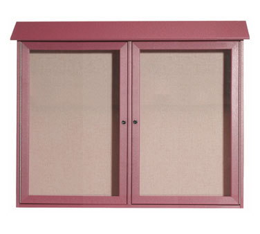"Aarco Products PLD3645-2-7 Rosewood Two Hinged Doors Plastic Lumber Message Center with Vinyl Posting Surface 36"" x 45"""
