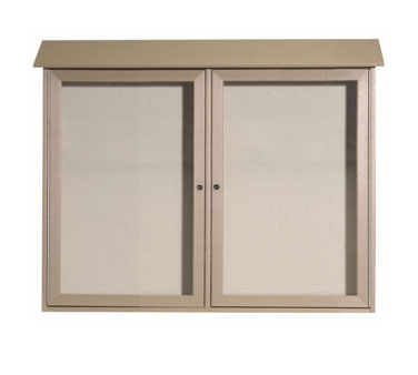 "Aarco Products PLD3645-2-8 Weathered Wood Two Hinged Doors Plastic Lumber Message Center with Vinyl Posting Surface 36"" x 45"""
