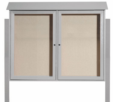 Aarco Products PLD3645-2DPP-2 Light Grey Two Hinged Doors Plastic Lumber Message Center w / Vinyl Posting Surface, Posts 36