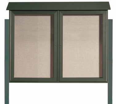 """Aarco Products PLD3645-2DPP-4 Green Two Hinged Doors Plastic Lumber Message Center with Vinyl Posting Surface- Posts Included, 36"""" x 45"""""""