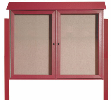 "Aarco Products PLD3645-2DPP-7 Rosewood Two Hinged Doors Plastic Lumber Message Center with Vinyl Posting Surface- Posts Included, 36"" x 45"""