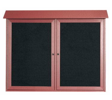 "Aarco Products PLD3645-2L-7 Rosewood Two Hinged Doors Plastic Lumber Message Center with Letter Board 36"" x 45"""