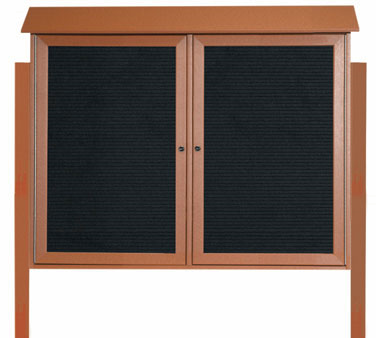 "Aarco Products PLD3645-2LDPP-5 Cedar Two Hinged Doors Plastic Lumber Message Center with Letter Board- Posts Included, 36"" x 45"""