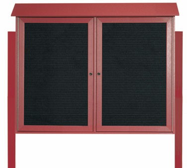 """Aarco Products PLD3645-2LDPP-7 Rosewood Two Hinged Doors Plastic Lumber Message Center with Letter Board- Posts Included, 36"""" x 45"""""""
