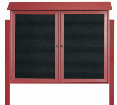 "Aarco Products PLD3645-2LDPP-7 Rosewood Two Hinged Doors Plastic Lumber Message Center with Letter Board- Posts Included, 36"" x 45"""