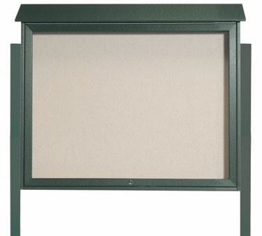 Aarco Products PLD3645TDPP-4 Green Top Hinged Single Door Plastic Lumber Message Center w / Vinyl Posting Surface, Posts 36